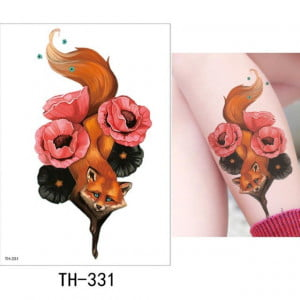 Temporary Tattoo TH-331 Fox and Flowers