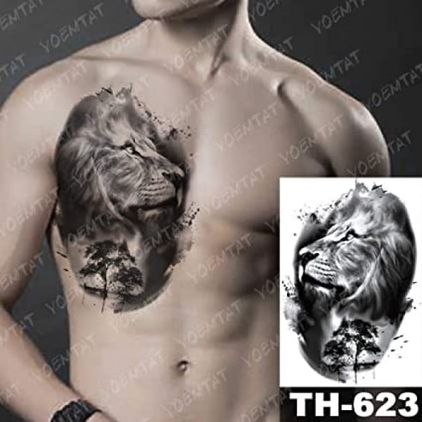 Temporary Tattoo TH-623 Lion & Tree at Night