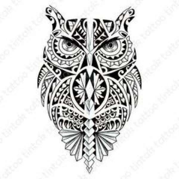 Temporary Tattoo TH-553 Polynesian Owl